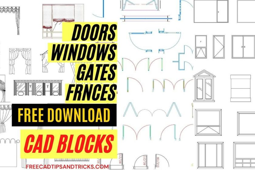 AutoCAD blocks Doors, Windows, Gates, and Curtains Free download