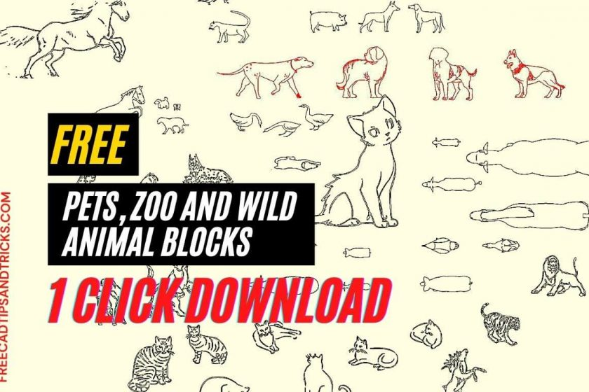 Animals and pets dwg models and CAD blocks free download