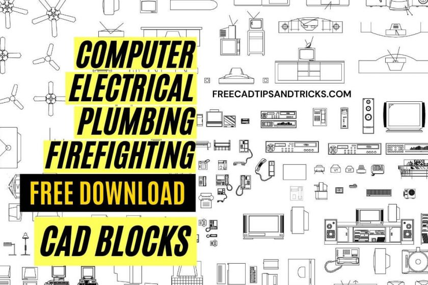 CAD blocks Computer, Plumbing, Lighting, Electrical, and Firefighting Symbols free download