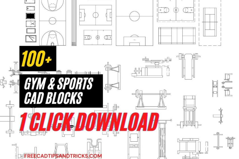 100+ Cad blocks Sports and Gym equipment dwg AutoCAD drawing free Download