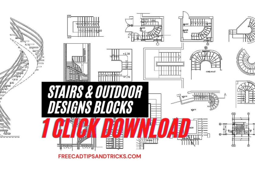 Stairs and Outdoor Design sample AutoCAD drawings and CAD blocks